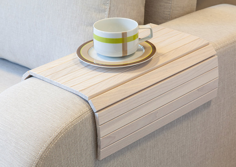 Flexible Wooden Sofa Armrest Tray Table The Green Head