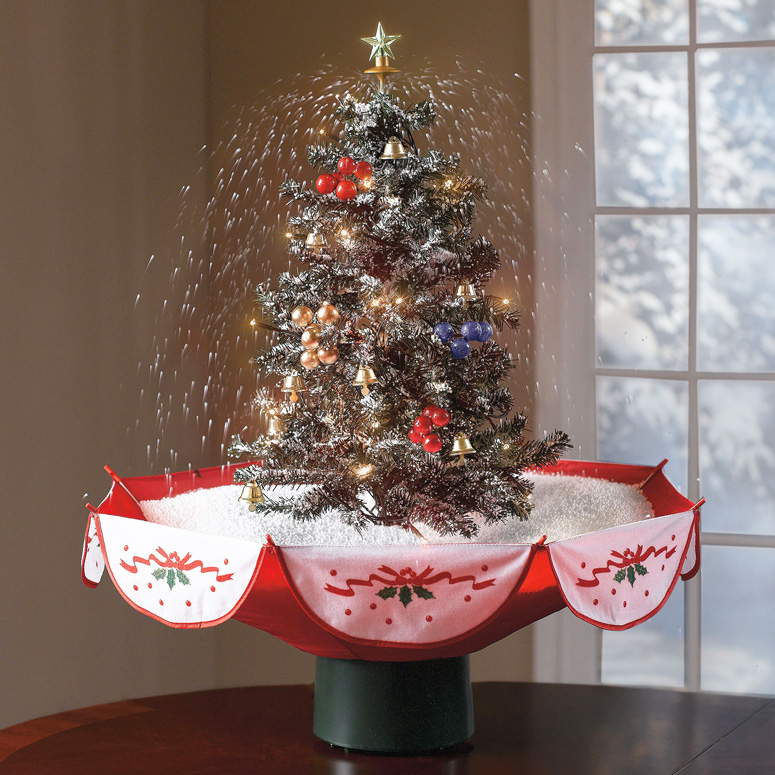 Tabletop Snowing Christmas Tree