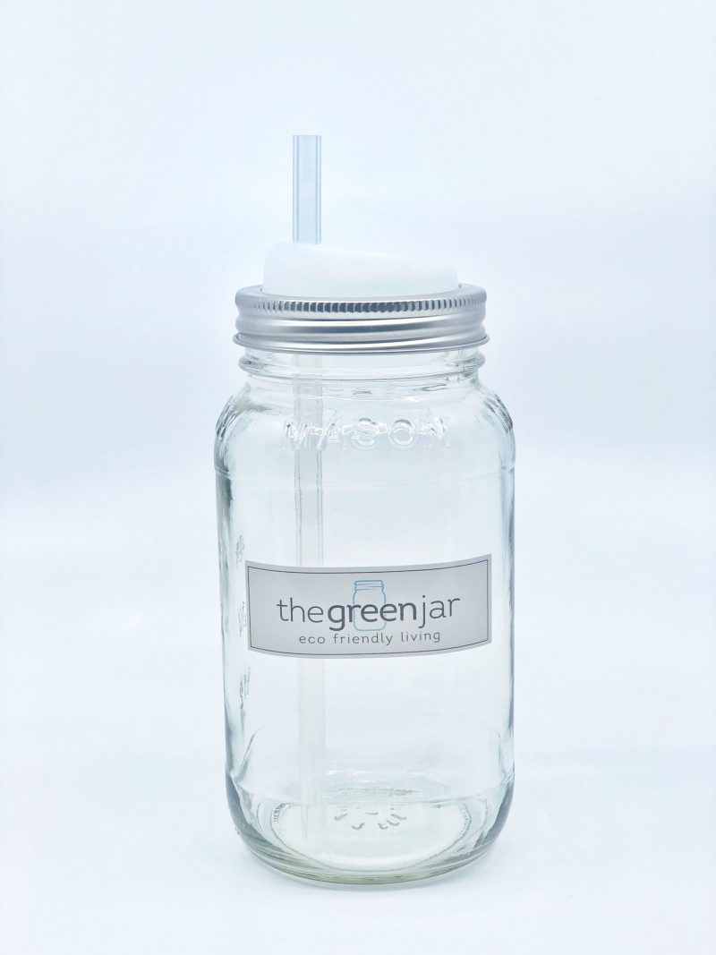 mason jar with silicone straw and lid