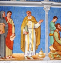 St. Gregory the Great mural, south foyer, St. Benedict Hall, Benedictine College, Atchison, Kansas.