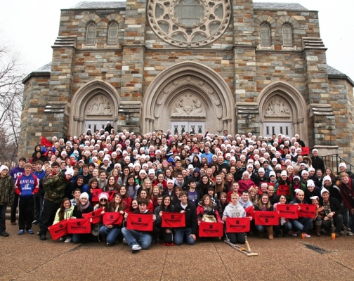 Benedictine College's pro-life group at Nativity Parish in D.C.