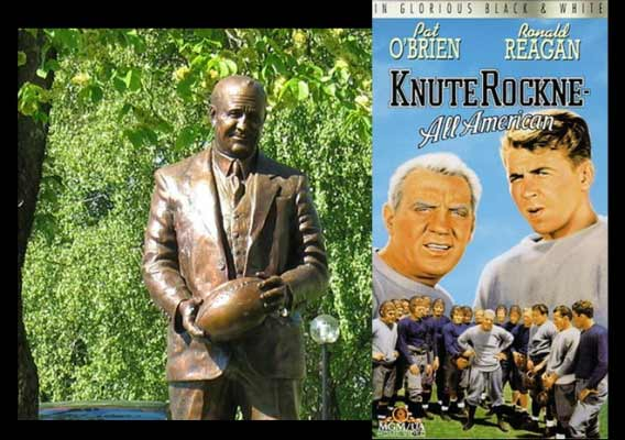 Knute Rockne (1888-1931) is regarded as one of the greatest coaches in college football history, who helped shape the game as we know it. He was impressed with his players' devotion and converted to Catholicism.