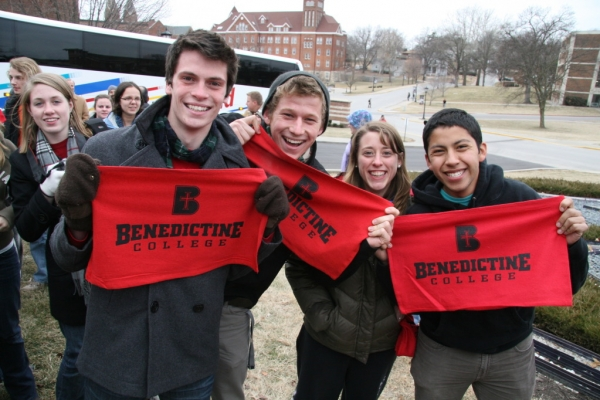 Benedictine College provided marchers with rally towels.