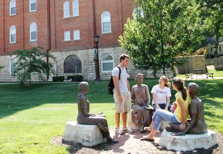 8. The Scholastica Plaza in front of Elizabeth Hall features statues of sisters and students of Mount St. Scholastica monastery.