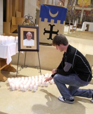 February 28, Pope Benedict Resigns: St. Benedict's Abbey on Benedictine College's campus marked the moment with a solemn tolling of the bell.