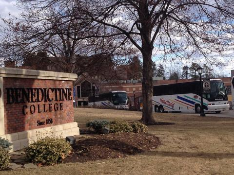 Buses head out of campus ...