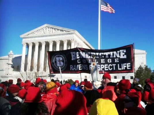In this year of Benedictine College's consecration to Mary, students ended the March for Life with a rosary on the steps of the Supreme Court. (Photo Brianna Sluder)