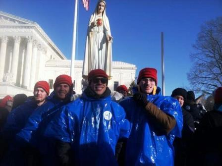 Memorare Army: Benedictine College men carried a pilgrim statue of Our Lady of Fatima that had been blessed by Pope Francis.