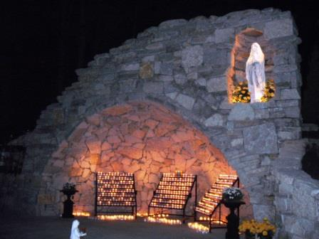 The Grotto on the night of its dedication in 2009. (Photo by Brother Benedict)