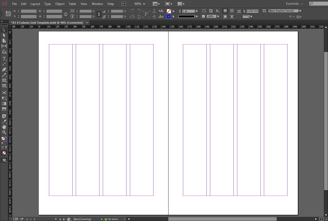 Indesign A5 4 Column Grid Template