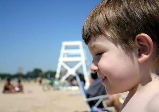 Conor spent more time in the sand, but enjoyed the water plenty too.