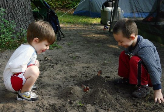 The dirt pile outside on our site become a popular spot for burying toys.
