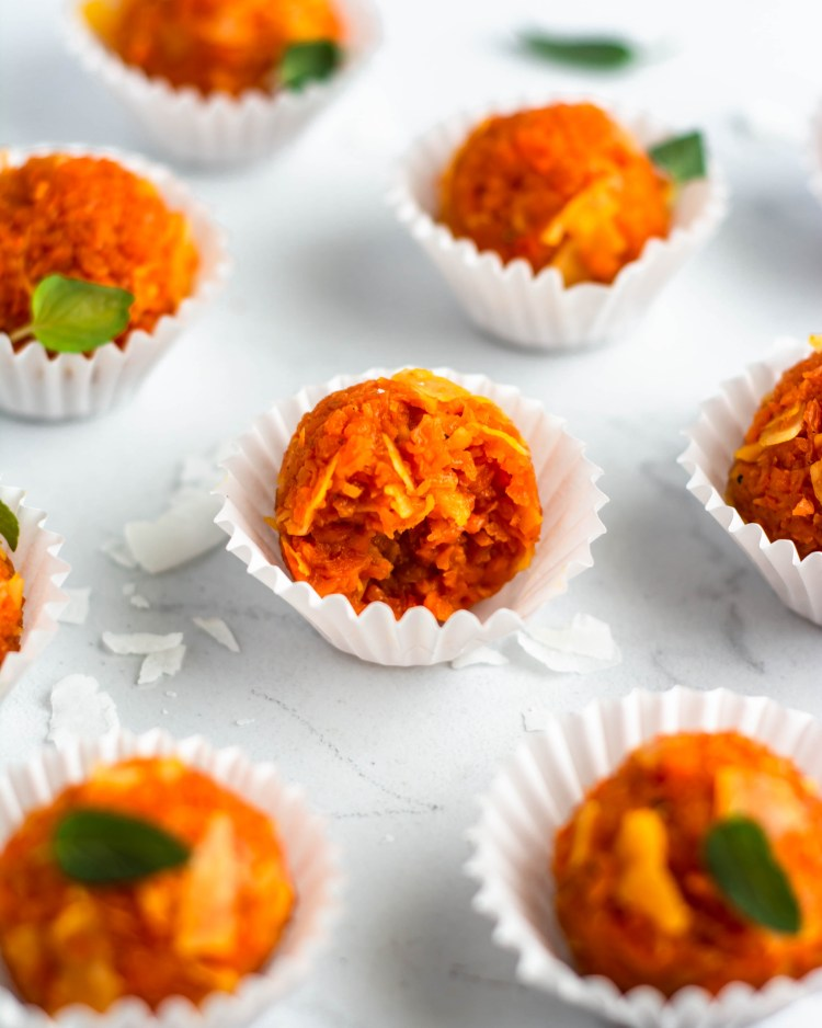 Carrot Truffles in white cups
