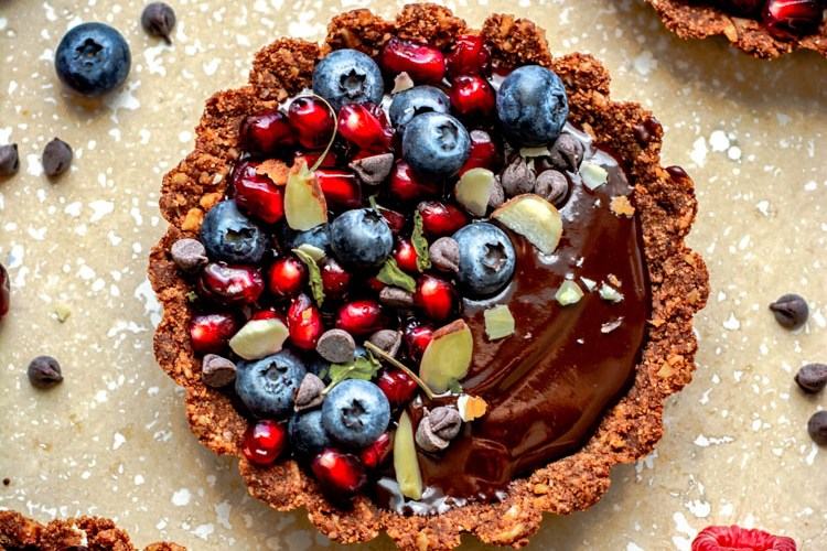 Mini Chocolate Tarts with fruits on top