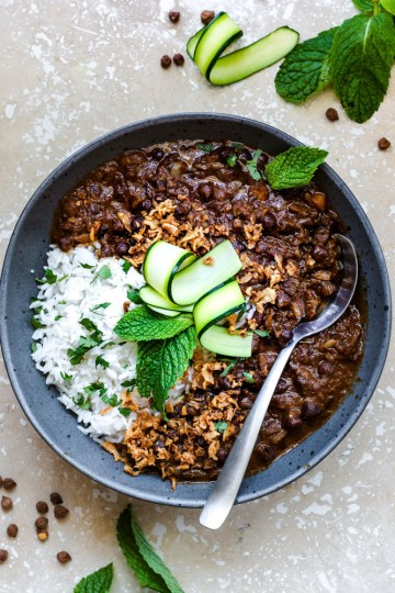 Black Chickpeas curry in a bowl with spoon