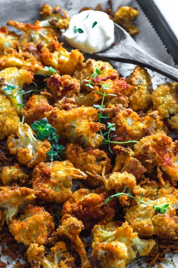 Roasted Cauliflower in a baking tray
