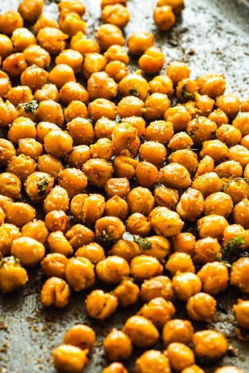 Roasted Chickpeas on a baking tray