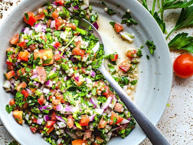 Tabbouleh Quinoa Salad in grey plate