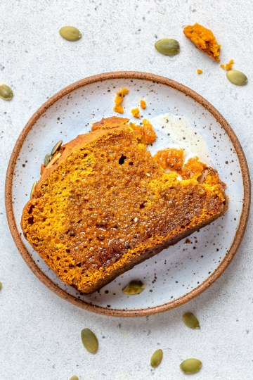 vegan pumpkin bread slice in a place