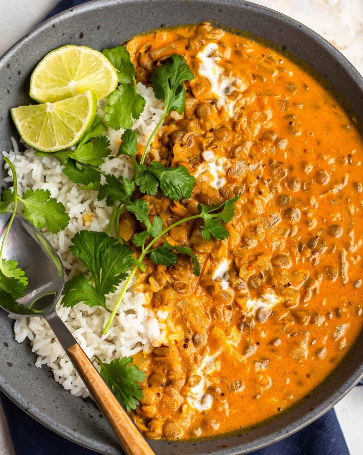 creamy coconut lentil curry in a bowl