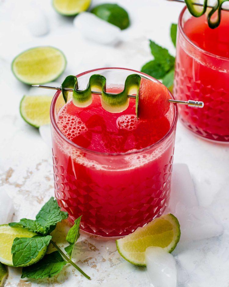 cucumber watermelon margarita in a glass