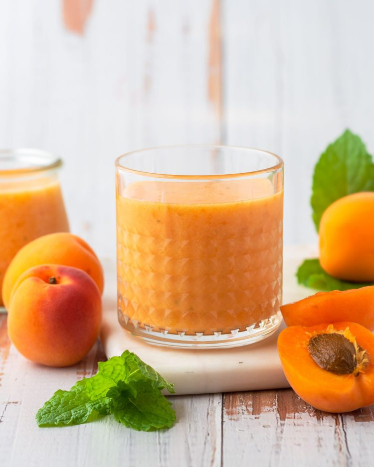 fresh apricot juice in a glass