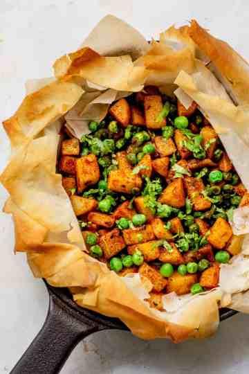 potato peas phyllo tart
