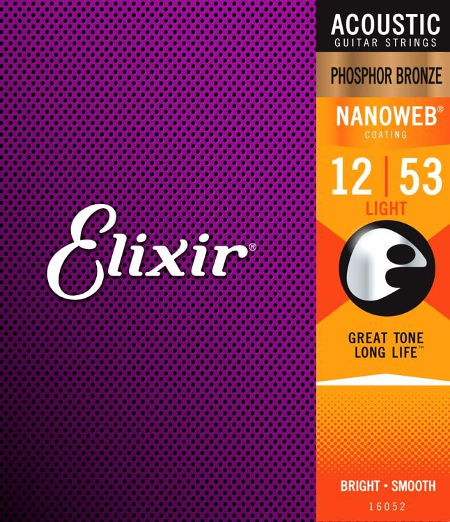 Product Image of Elixir Strings 16545 Acoustic Phosphor Bronze Guitar Strings with NANOWEB Coating