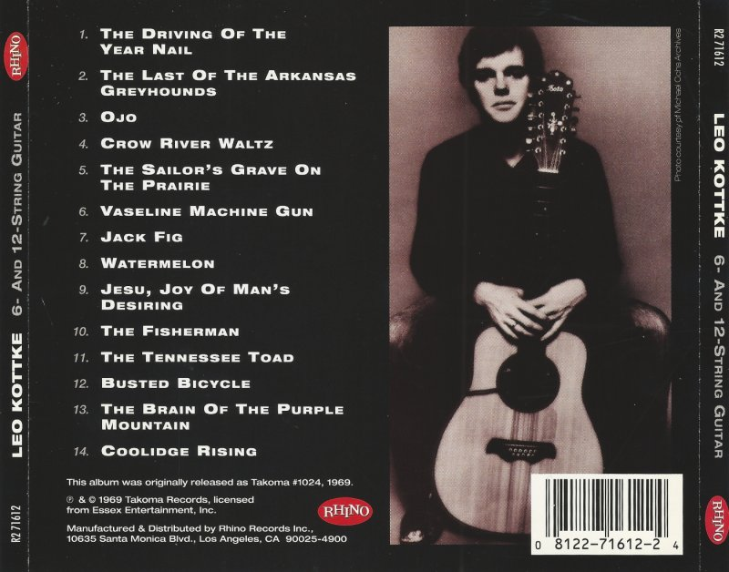 "CD cover (back) for Leo Kottke's ""6- and 12-string Guitar"""