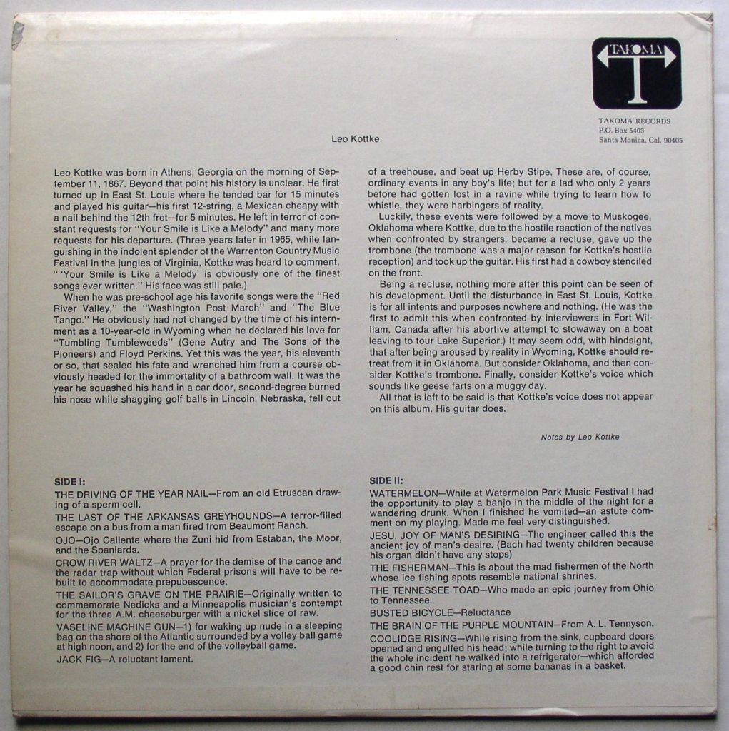 "Vinyl liner notes for Leo Kottke's ""6- and 12-string Guitar"""