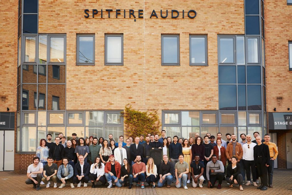 Group shot of employees at Spitfire Audio.