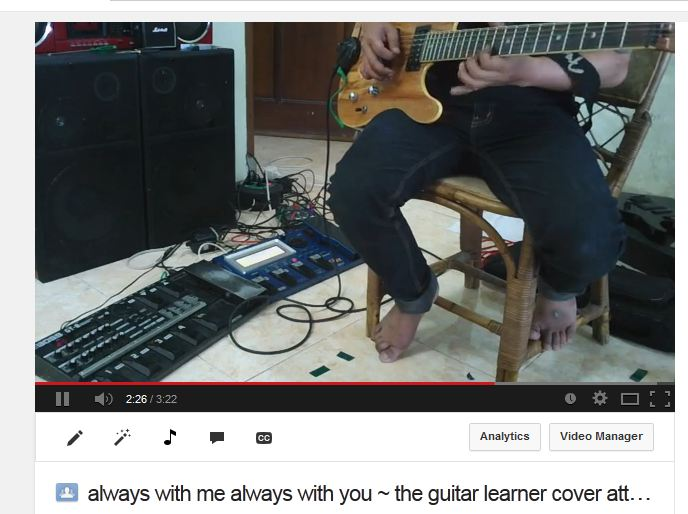Learn guitar playing by covering songs