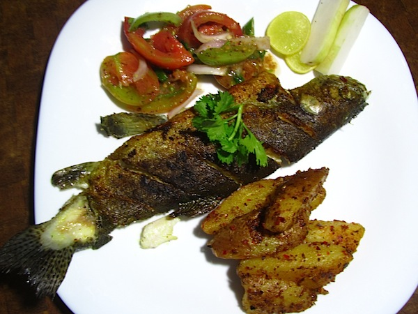 Pan-fried rainbow trout with crispy potato wedges and fresh tomato salad
