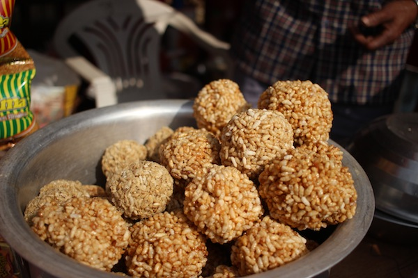 Laiyaa or Bhujako laddu: made from puffed rice and molasses or jaggery
