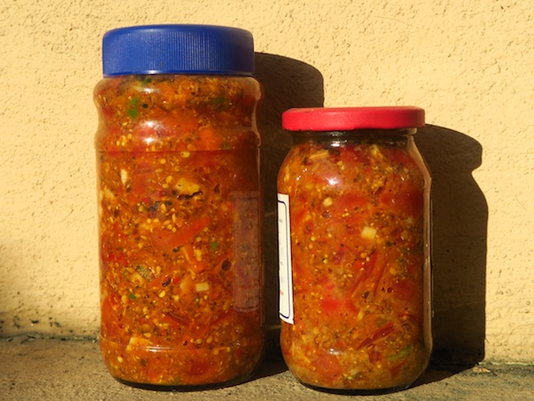 Tomato Pickle with Radish Seeds and Spices