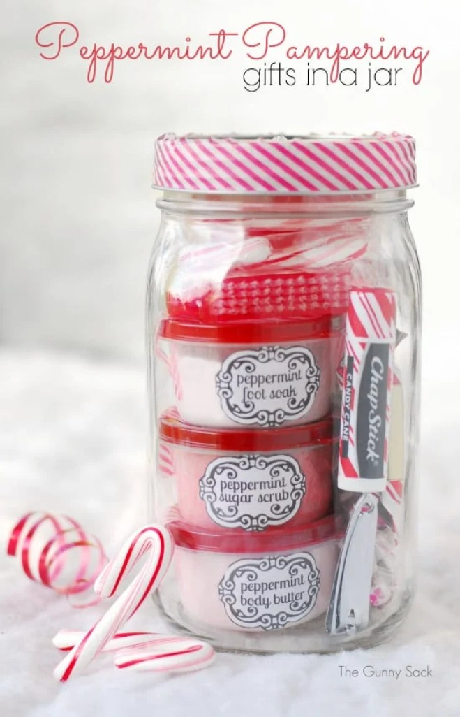 Peppermint Pampering Gifts In A Jar | mason jar gift ideas