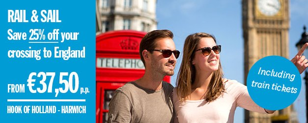 Save 25%  when you Rail & Sail to London with Stena Line.!