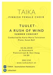Finnish Female Choir TAIKA - Annual Summer Concert @  Paleiskerk
