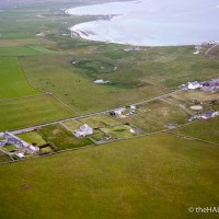 St Anne's Kirk, Papa Westray, from the air