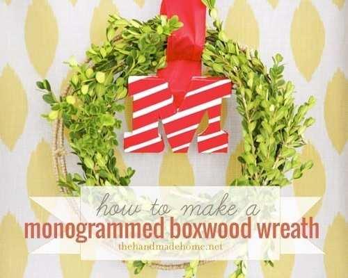 diy monogrammed boxwood wreath (scotch tape project)