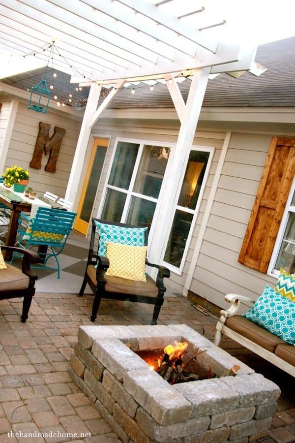 backyard bliss: installing patio pavers and a fire pit ... on Backyard Fire Pit Ideas Diy id=63835