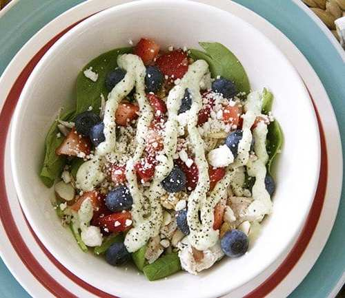 avocado lime ranch dressing and a sweet summer salad