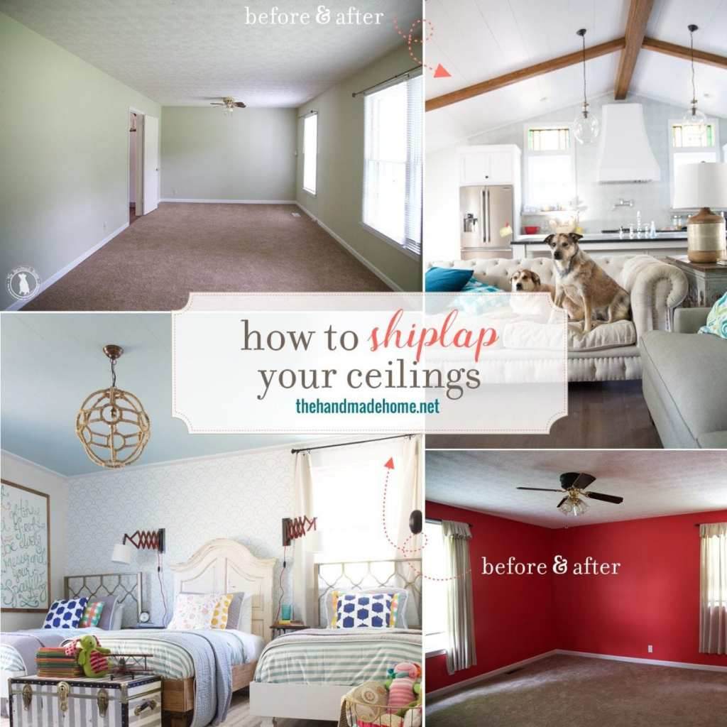 how to shiplap your ceilings - before and after