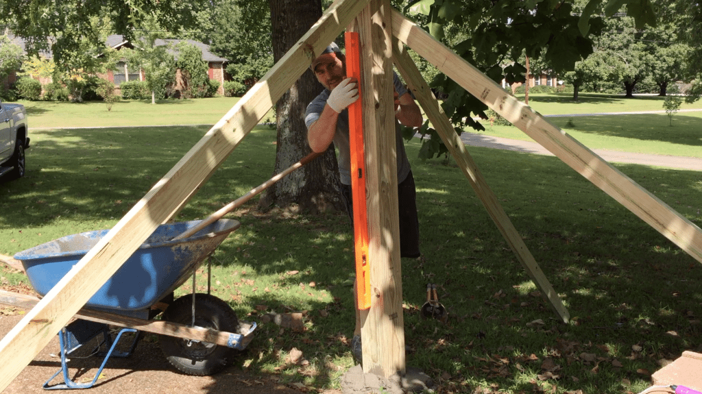 how to build a basketball goal - building the support level