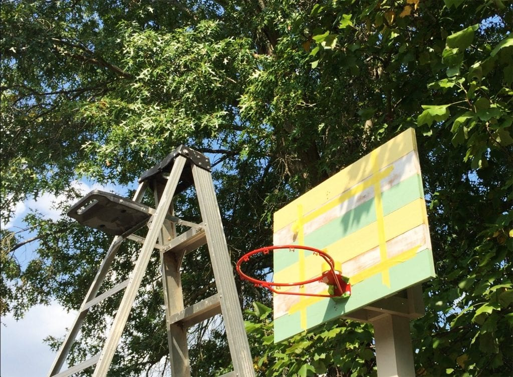 how to build a basketball goal - painting the square