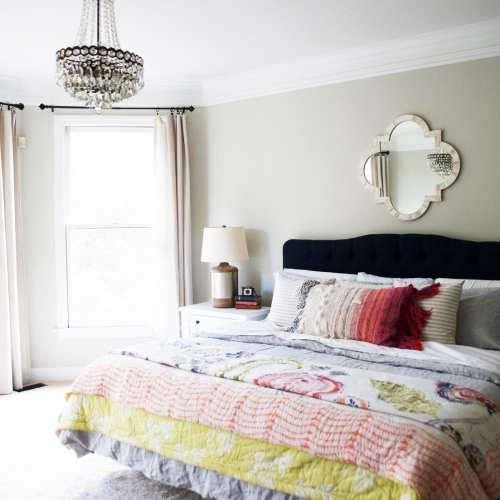 master bedroom in bold colors