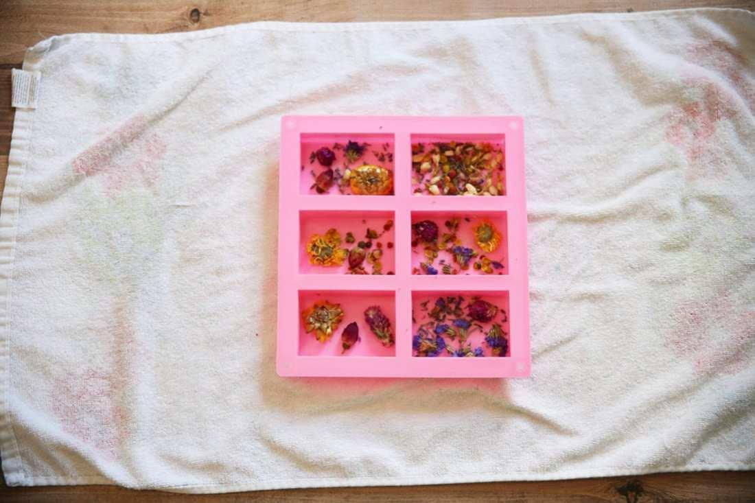 simple pressed flower soap