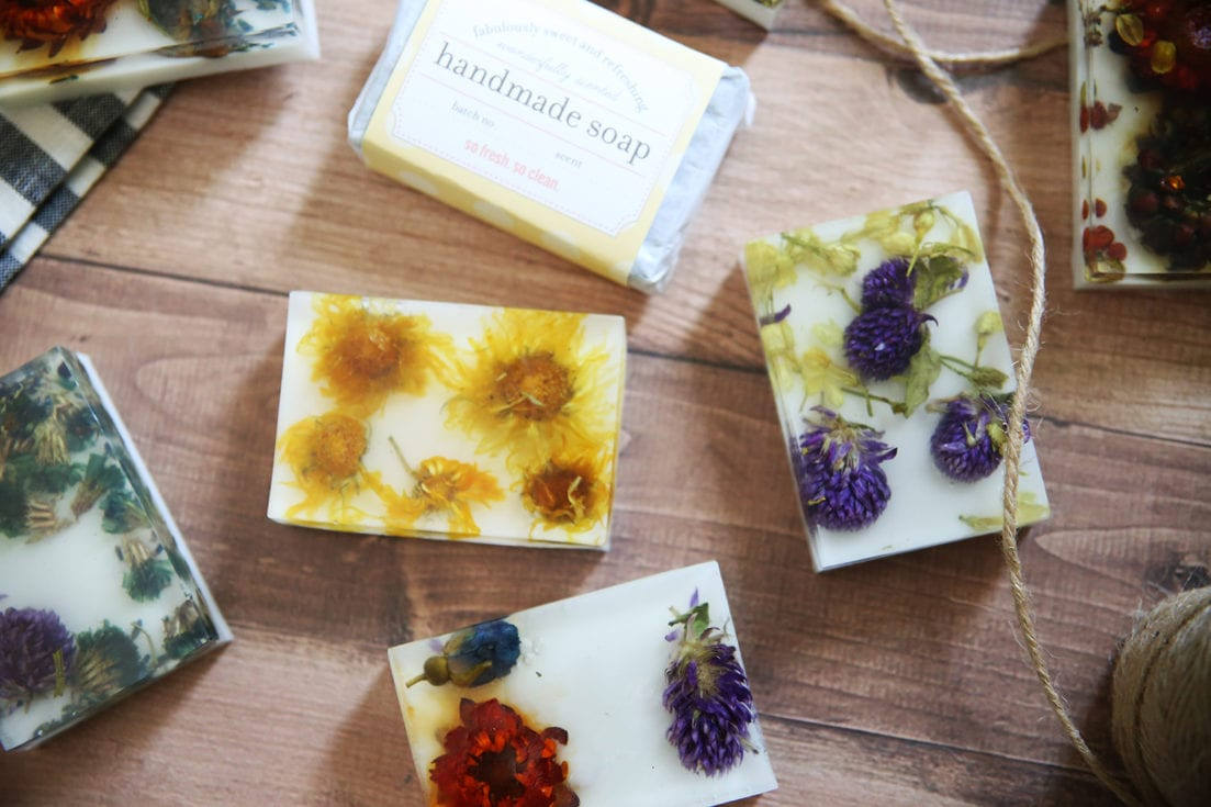 Using dried flowers in handmade soaps