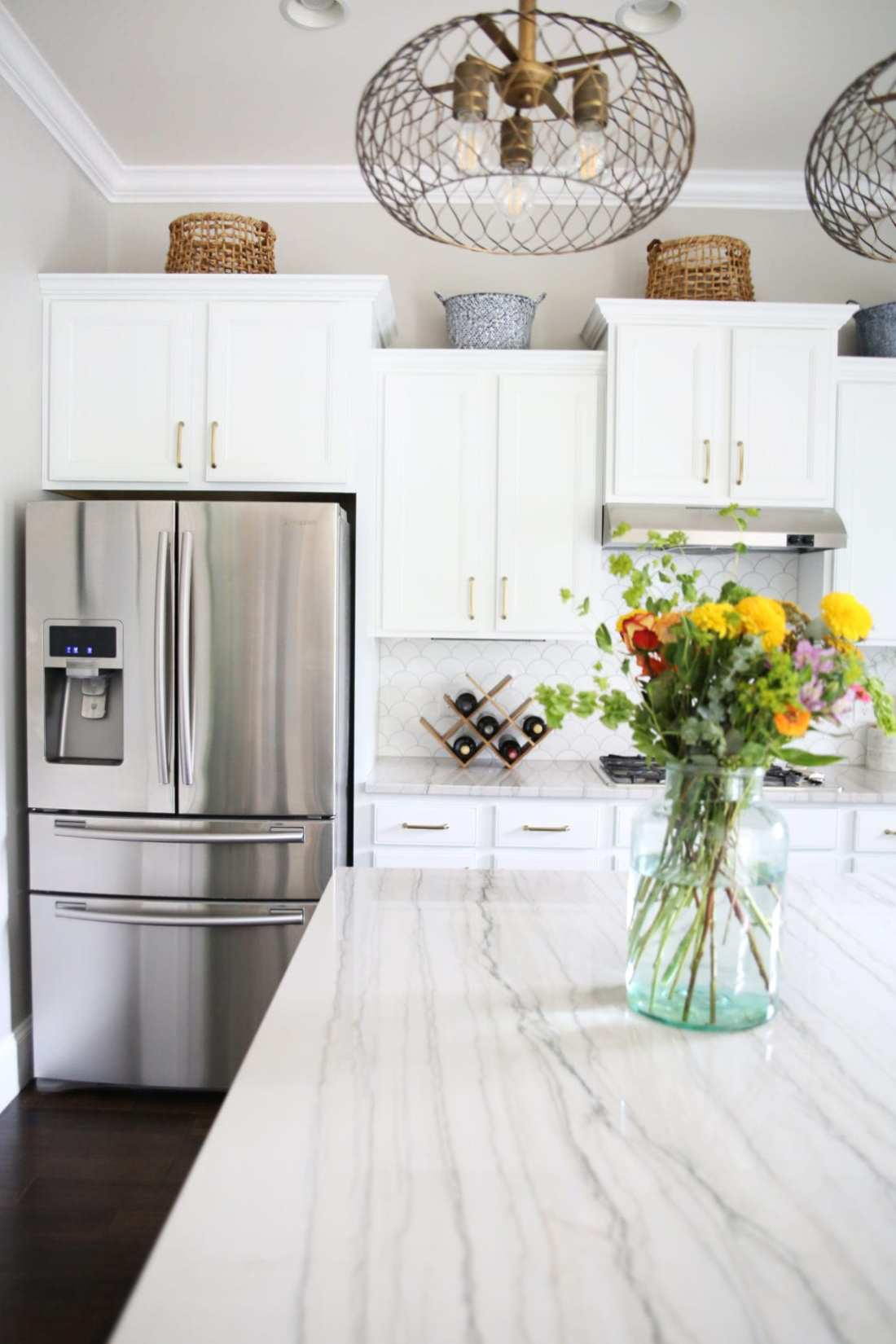 kitchen makeover with soft brass