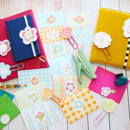 spring stationery and garland set